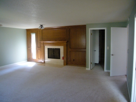 {Fireplace, closet, and entrance}