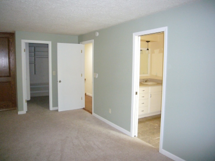 {Fireplace wall, closet door, entrance, and bathroom doorway}
