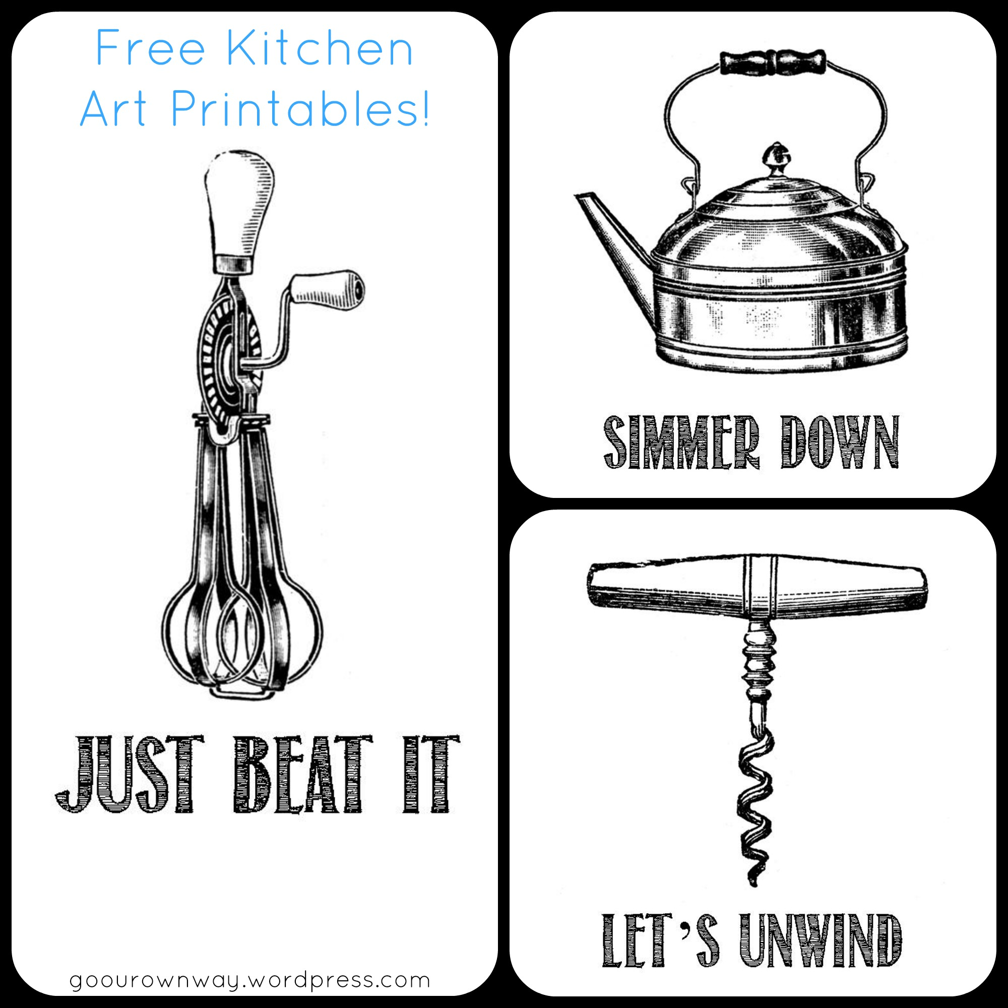 photograph regarding Free Kitchen Printables identified as Kitchen area Artwork cost-free printables! Transfer Our Individual Path